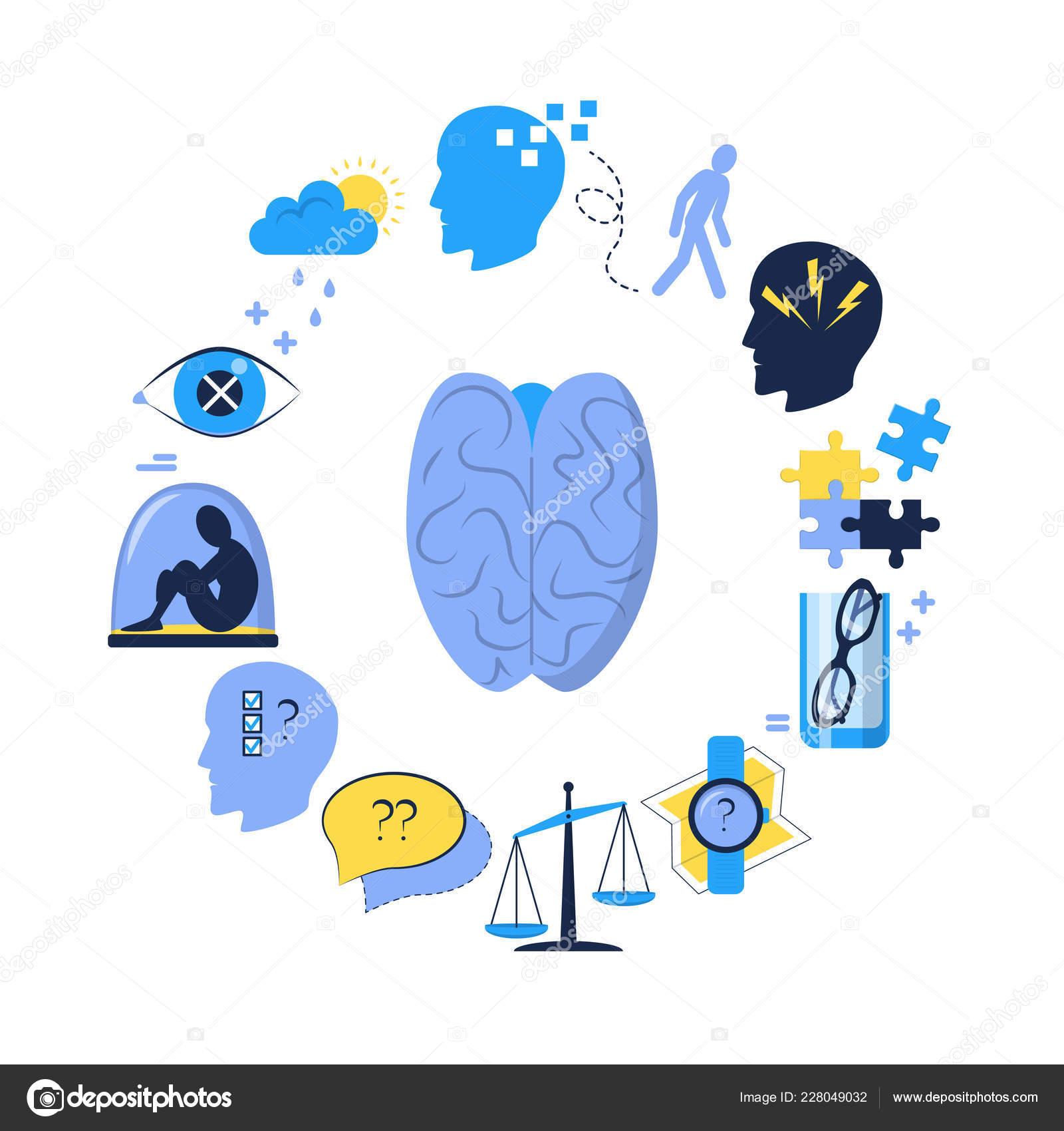 Symptomen Van De Ziekte Van Alzheimer Ronde Concept Poster In Vlakke