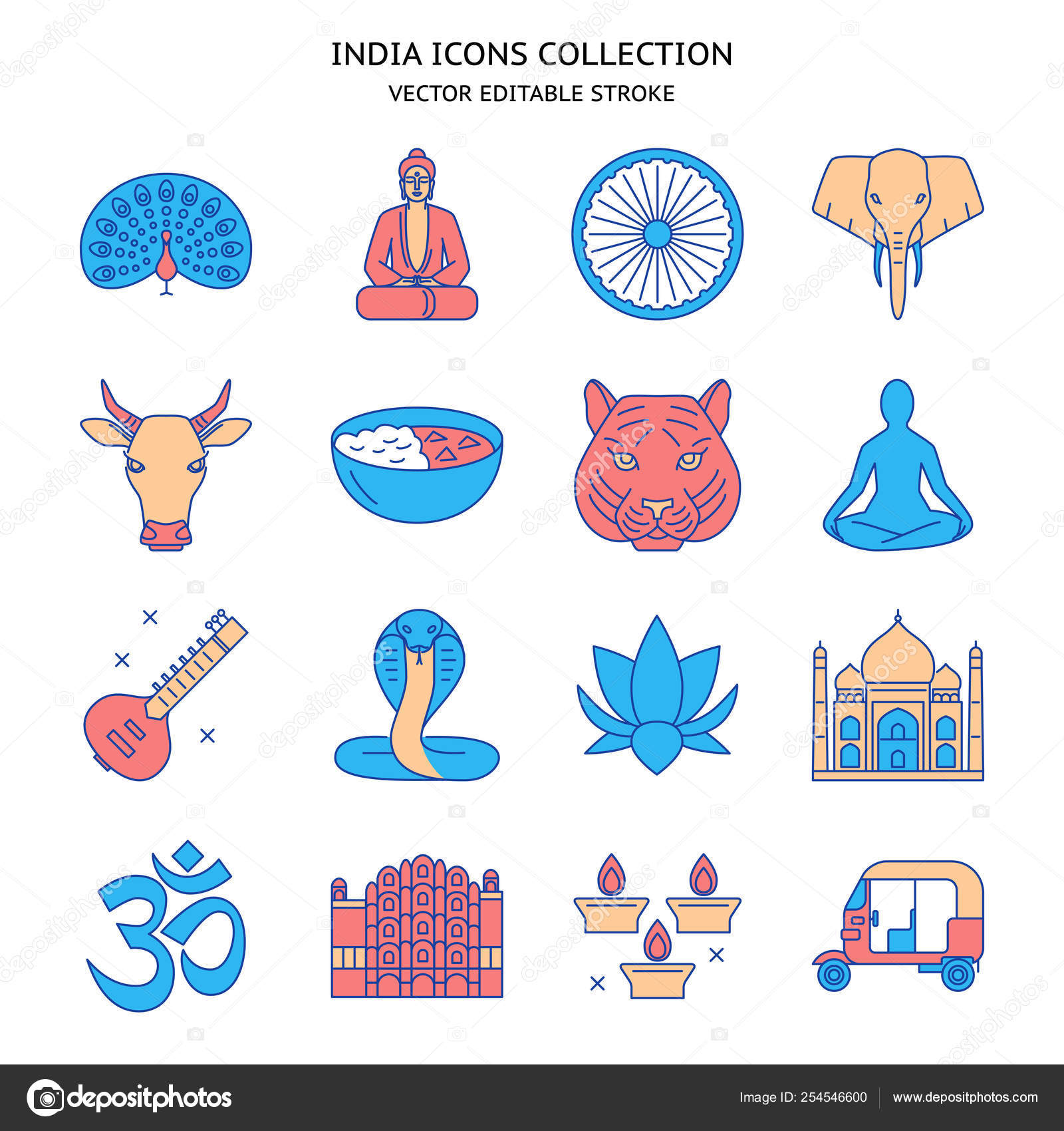 India Icons Set In Colored Line Style Stock Vector Ekazansk