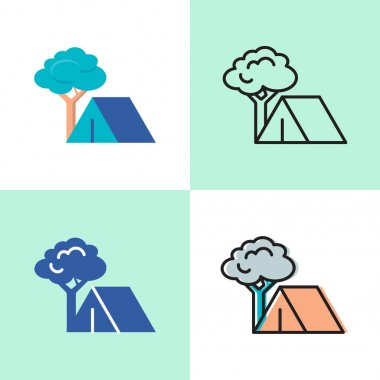 Camping concept icon set in flat and line style