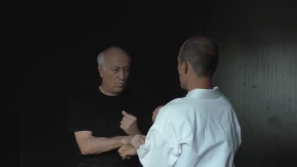 Zwei Athleten trainieren Kung-Fu-Übungen