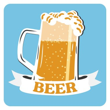 Beer vector icon. Beer cold drink sign. Mug of foamy beer on a blue background.