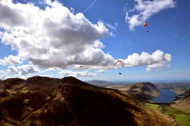 Paragliders over Lingmell Fell