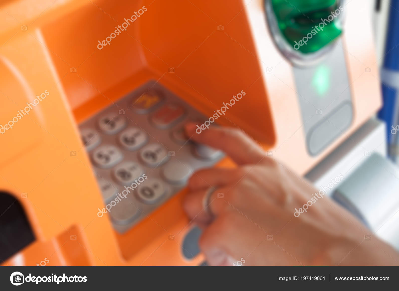 Blurry Background Woman Hand Enter Code Atm Machine Banking