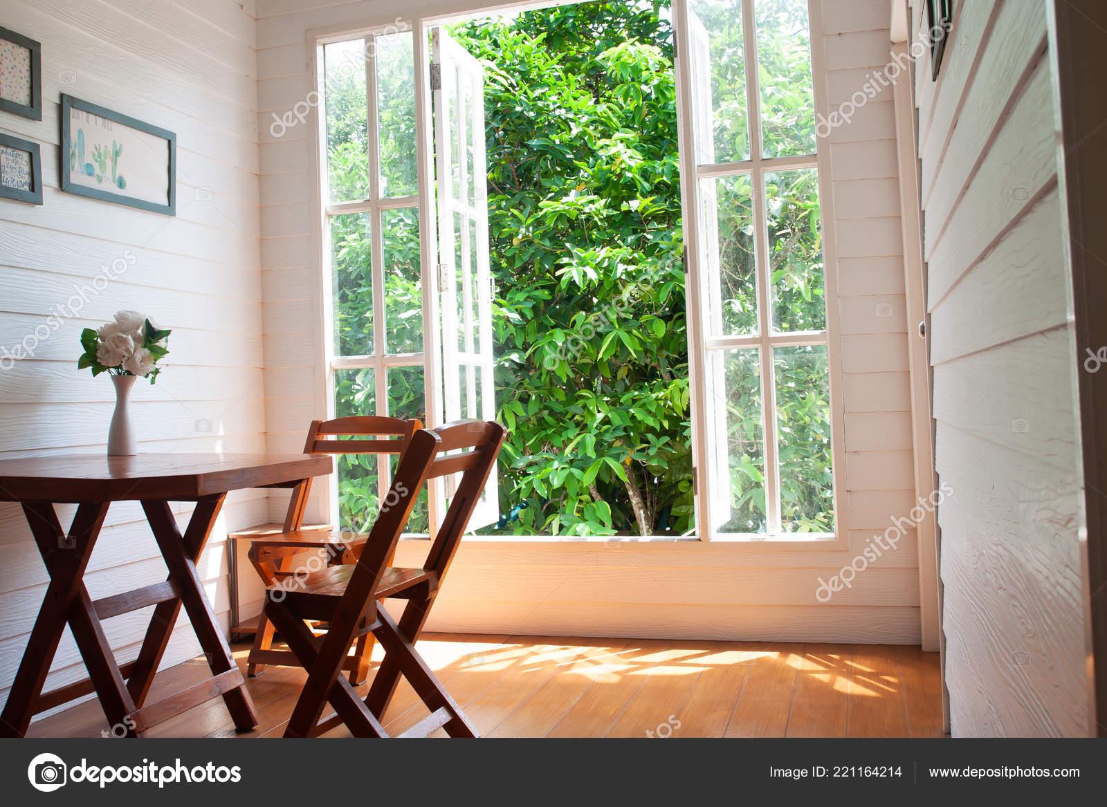 Living Room Big Window Garden View Country Style Wooden Furniture Stock Photo C Schantalao 221164214