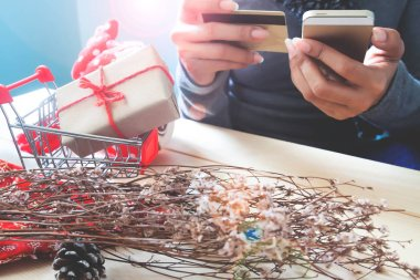 Holiday gift on shopping cart with woman using mobile phone and credit card