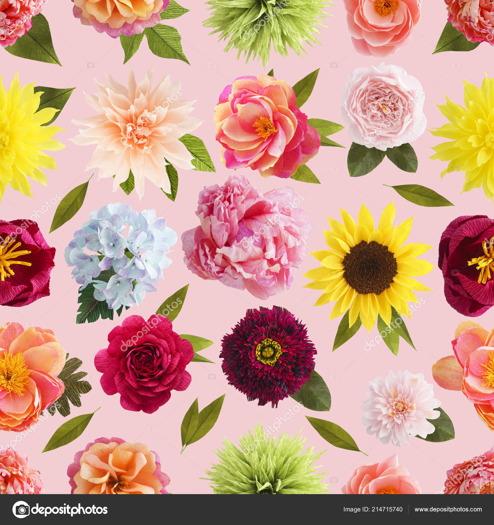 Crepe Paper Flower Seamless Pattern Pastel Colors Stock Photo