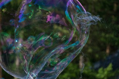 Iridescent large soap bubbles against the background of the forest. Entertainment.