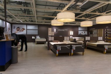Vilnius, Lithuania - October 27, 2018: Ikea Store in Vikingu street. Interior view of furniture room inside IKEA store. IKEA is the world's largest furniture retailer.