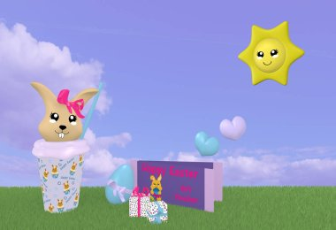3d Kawaii easter bunny on green meadow with sun and gift certificat
