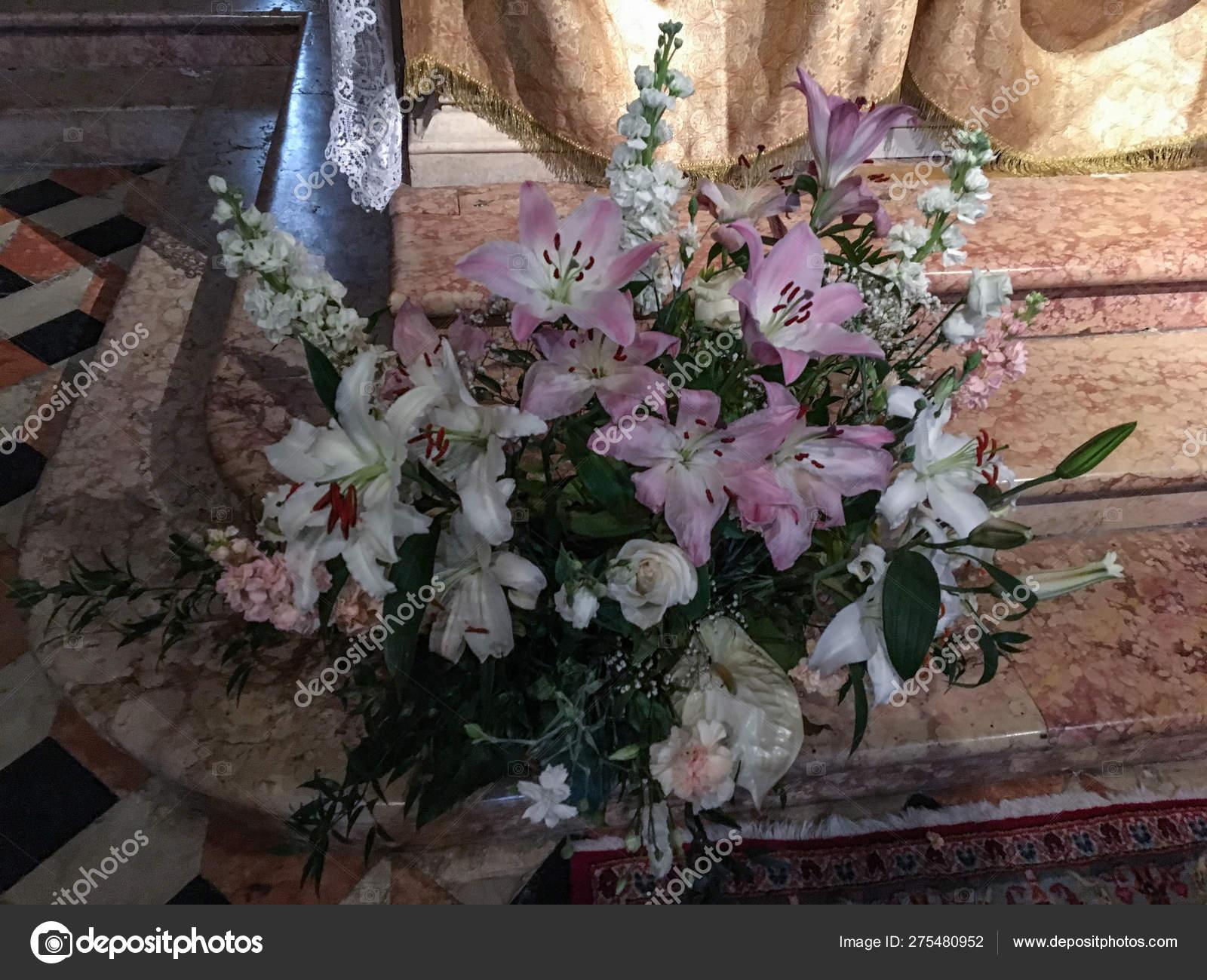 Flower Arrangement Church Lily Rose Bridal Flowers Orchid Colorful Bouquet Stock Photo C Roza Sean 275480952