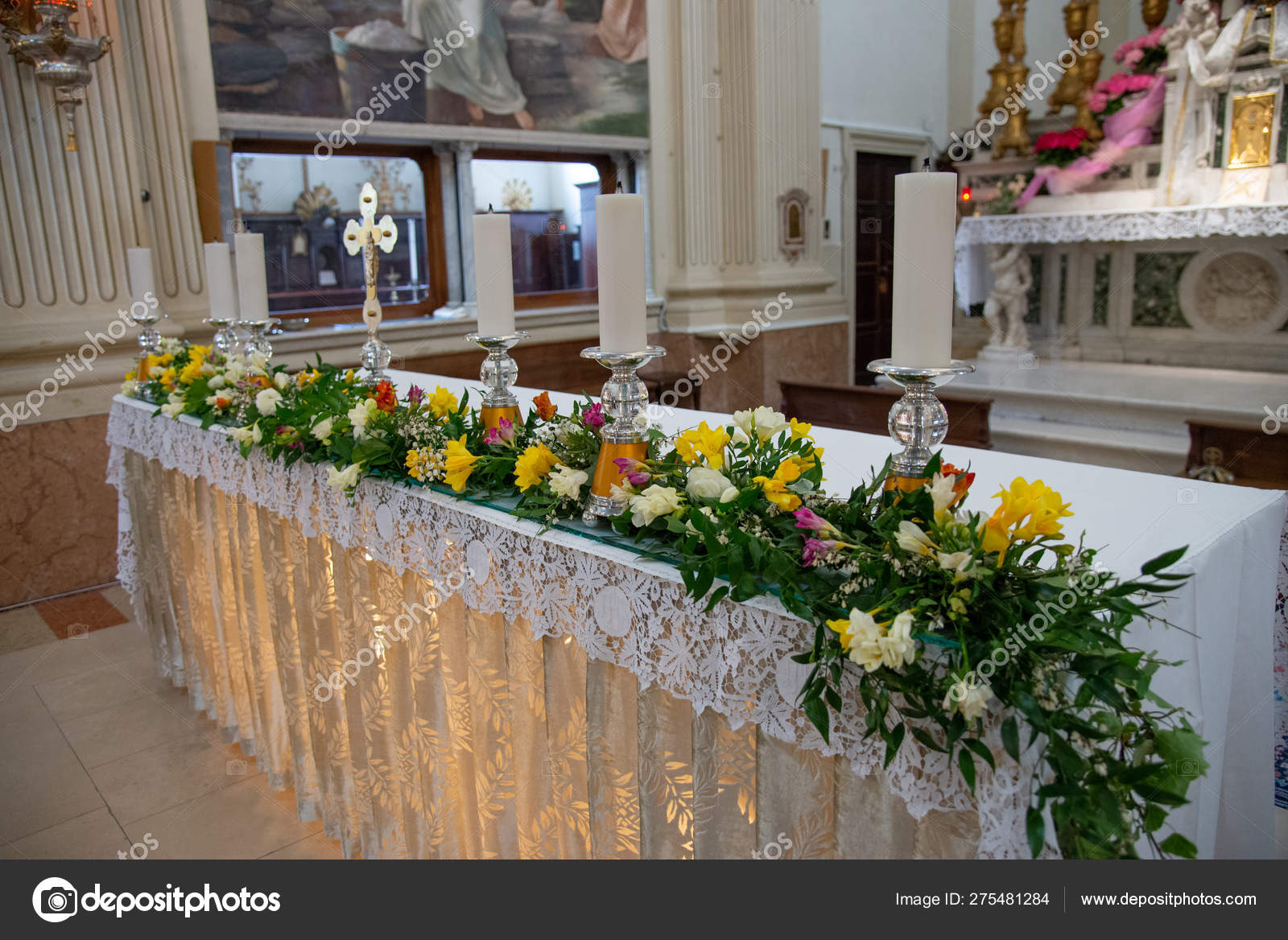 Flower Arrangement Altar Church Colorful Bouquet Flowers Celebration Stock Photo C Roza Sean 275481284
