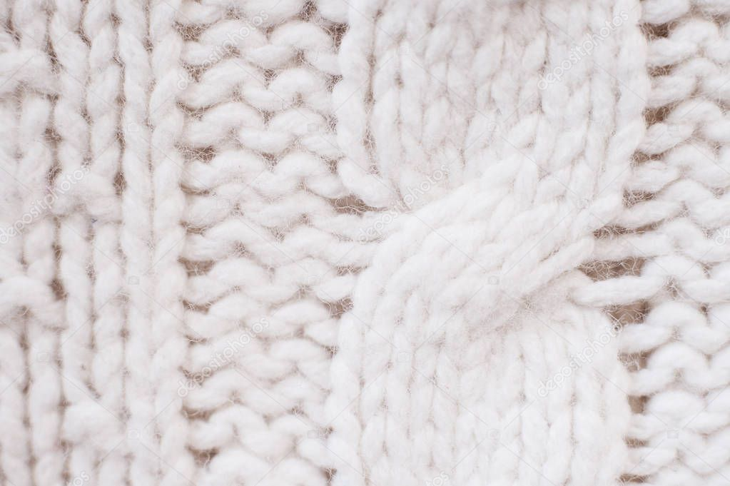 Knit texture of white wool knitted fabric with cable ...