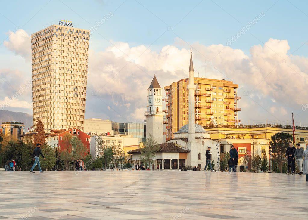 The Skanderbeg Square is the main plaza in the centre of Tirana