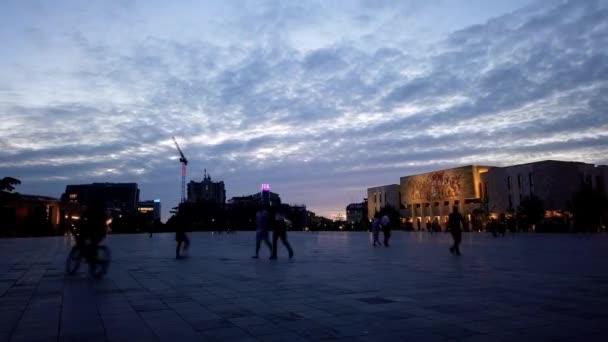 Scenic sunset over Tirana Albania center time lapse