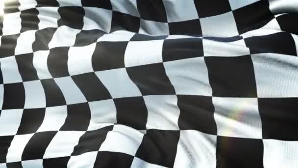 Die karierte Flagge wehte in der Sonne. nahtlose Schlaufe mit sehr detaillierter Textur. Schleife bereit in 4k Auflösung.