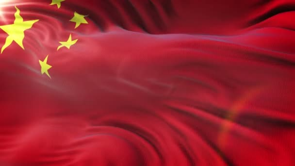 CHINA FLAG waving on sun. Seamless loop with highly detailed fabric texture. Loop ready in 4k resolution.
