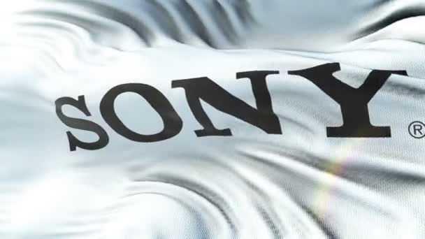 SONY  flag waving on sun. Seamless loop with highly detailed fabric texture. Loop ready in 4k resolution.