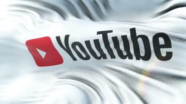 Bandiera di YouTube che ondeggia sul sole. Ciclo senza cuciture con struttura del tessuto altamente dettagliate. Ciclo pronto a risoluzione 4K