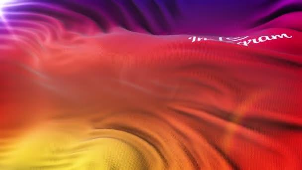 Instagram logó zászló integet a nap. Varrat nélküli hurok élénkség-val rendkívül részletes szövet szerkezete. Hurok kész a 4 k felbontás