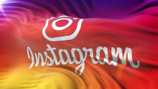 Instagram-Logo-Fähnchen auf Sonne. Nahtlose Schleife Animation mit sehr detaillierten Stoff. Schleife fertig in 4 k Auflösung