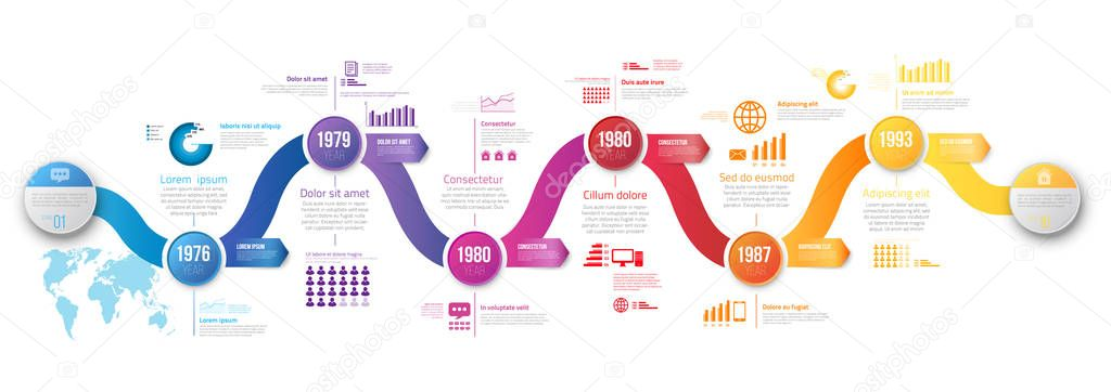 Colorful Wobble Template Business Concept Wave Timeline Arrows Infographics Layout With Steps Workflow History With Diagram Presentation And Graph Premium Vector In Adobe Illustrator Ai Ai Format Encapsulated Postscript Eps