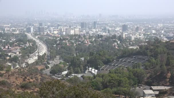 Ariel view across Hollywood and downtown Los Angeles