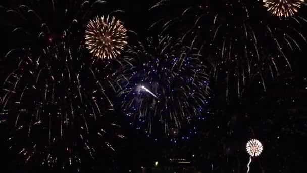 Happy New Year Text scrollt über eine lebendige Feuerwerk