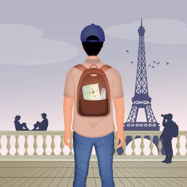 illustration of tourist in Paris
