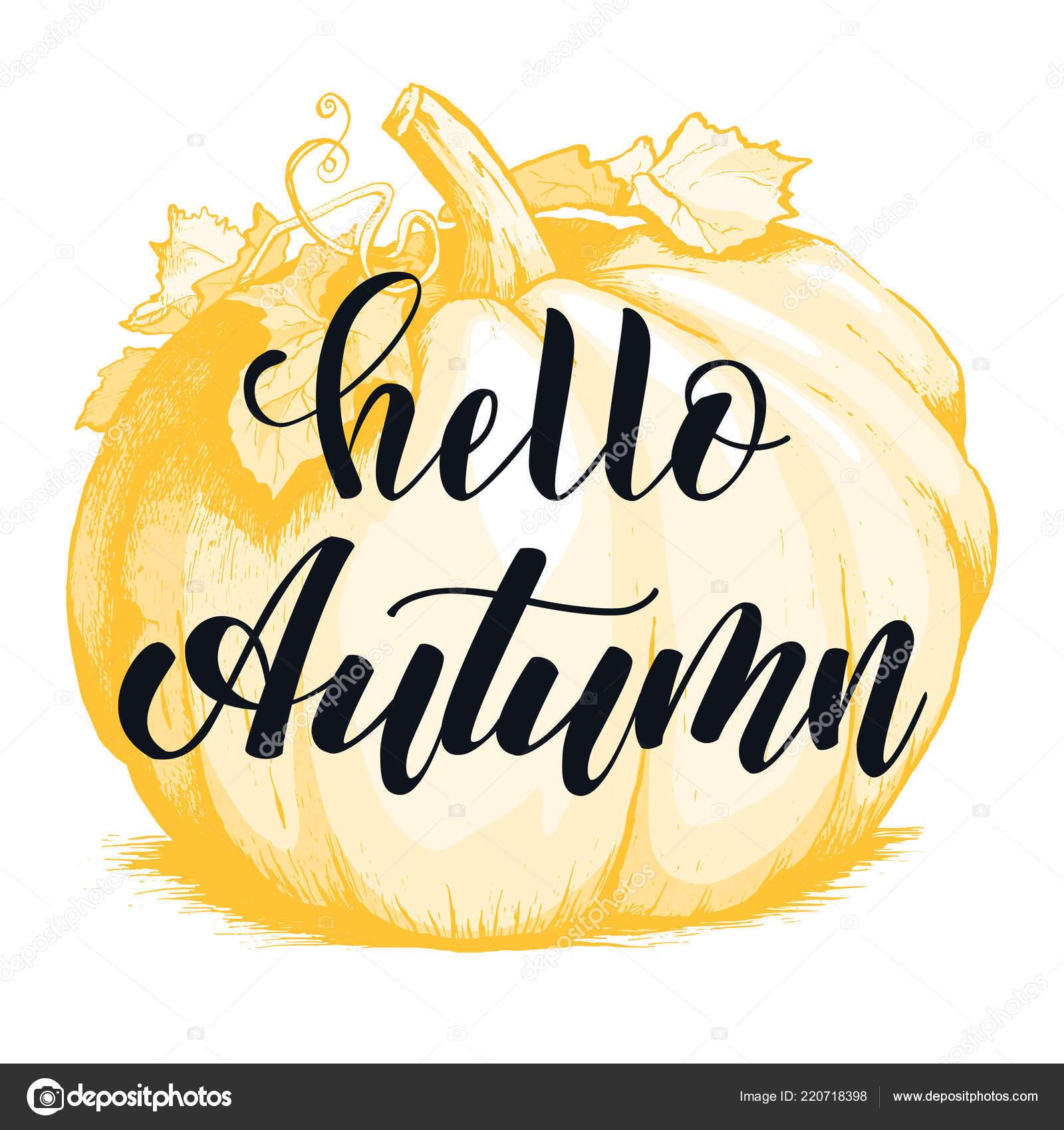 Olá Outono Mão Lettering Frase Preto E Branco Vetores De