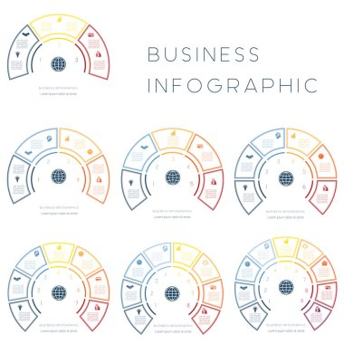Semicircle from colorful Lines. Templates for infographics for text area of 3,4,5,6,7,8,9 positions
