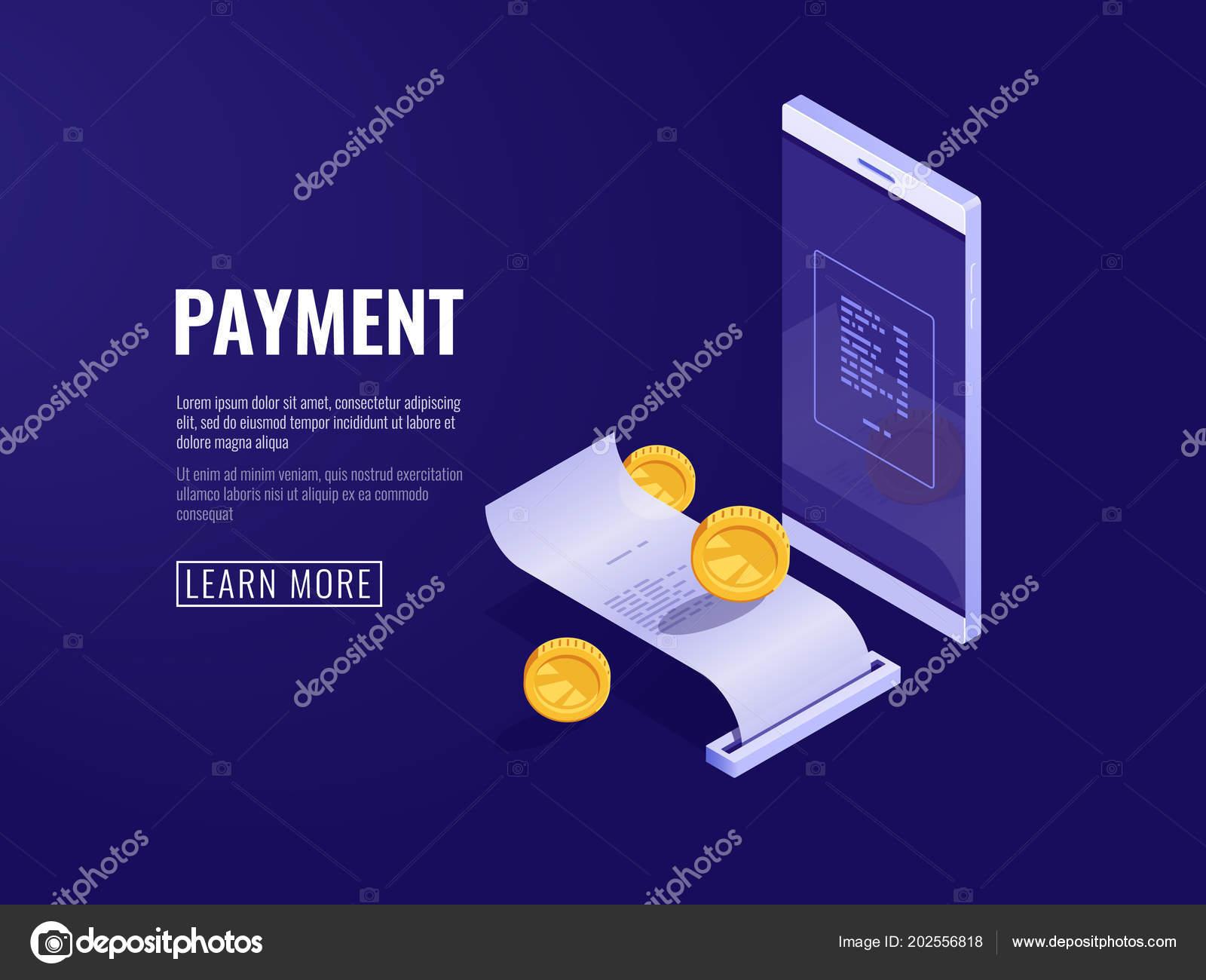 online payment concept mobile phone paper receipt electron bill