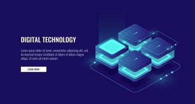 Personal data protection, server room, data center concept, big data processing isometric vector illustration, futuristic digital technology, computing unit