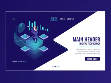 Business automated analytic system isometric icon, businessman hold a meeting, strategy formulation, chart analysis and trading, virtual graphics vector neon dark