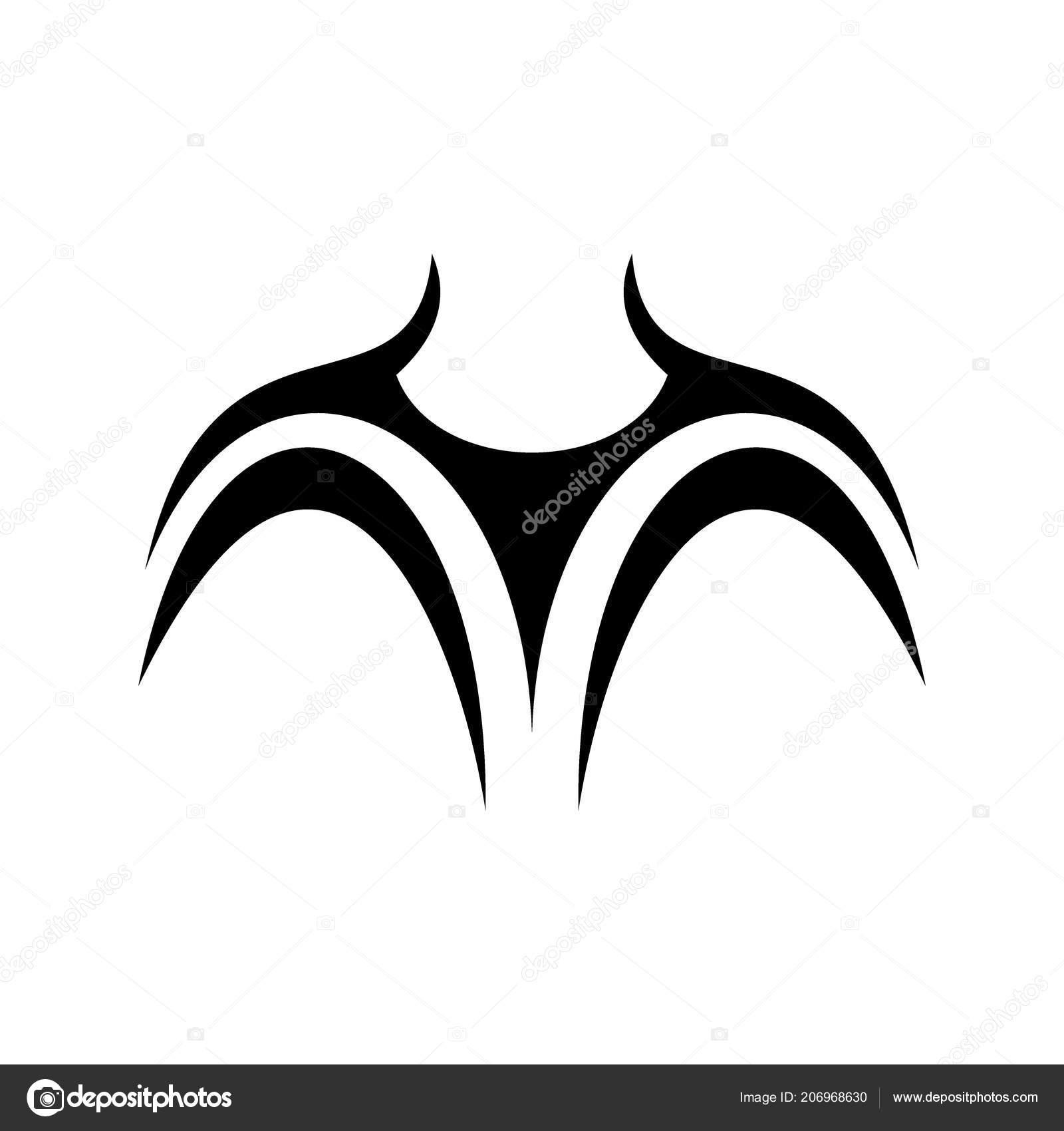 Disegno Del Tatuaggio Sul Petto Disegno Vettoriale Semplice