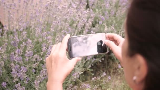 Woman taking pictures of Lavender on a Smartphone. Close up.