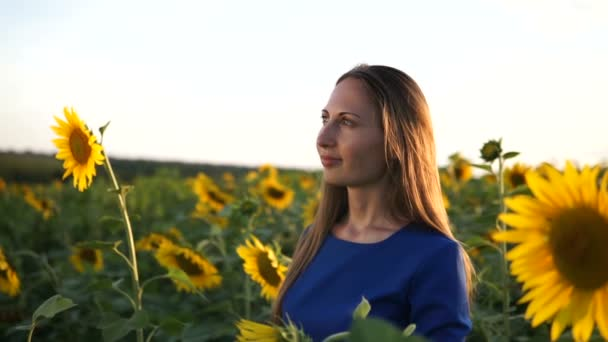 beautiful girl in a dark blue dress on a field of sunflowers , smiling a beautiful smile,cheerful girl,style, lifestyle