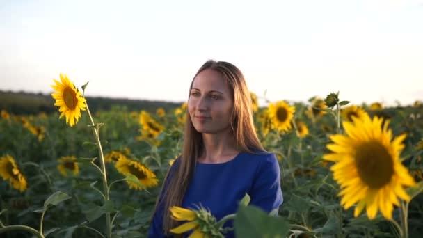 krásná dívka v tmavě modrých šatech na poli slunečnic, s úsměvem a krásný úsměv, veselá dívka, styl, životní styl
