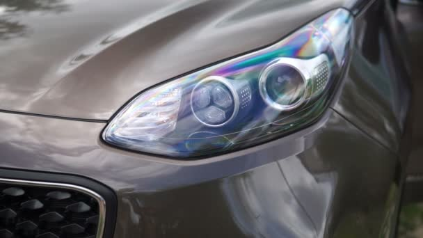 Headlights of car. Modern car elements.