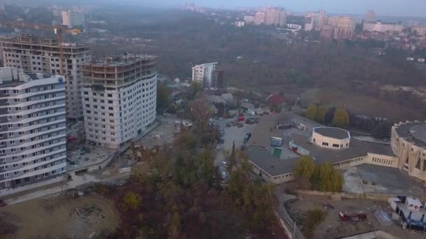 Aerial view of new buildings and street at sunset. Kishinev city, Moldova