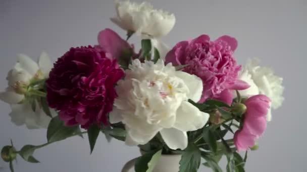 Csokor vázában színes bazsarózsa. Friss kerti pünkösdi rózsa.