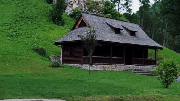 Panoramic view of the Bran Castle, Transylvania, Romania in June 26, 2019. Outside HD video