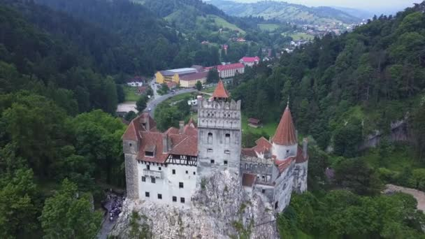 Aerial view of Bran Castle, Mystic place, Medieval castle, also known as Dracula castle, in Brasov, Transylvania
