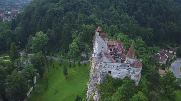 Aerial panorama view of the medieval Bran Castle , Dracula Castle in Brasov, Transylvania. Romania.