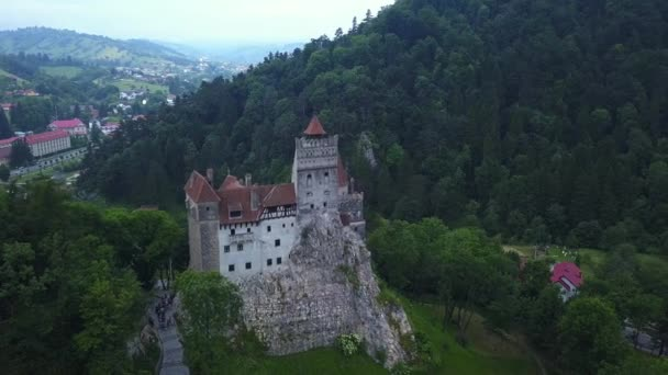 Aerial panorama view of the medieval Bran Castle , Dracula Castle in Brasov, Transylvania. Romania.