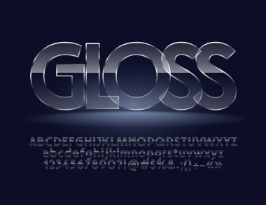 Glass Font. Gloss Vector Alphabet Letters, Symbols, Numbers.