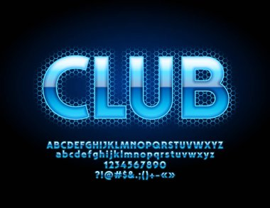 Vector Bright Blue Logo Club. Neon color Font. Glowing Alphabet Letters, Numbers and Symbols.