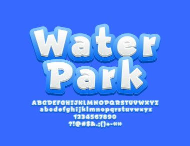 Vector sign Water Park with Kids Font. Blue and White Play Children Alphabet Letters