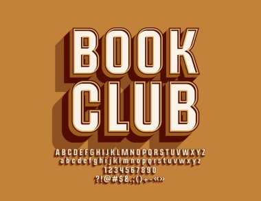 Vector Stylish Sign Book Club. Cool Font. Bright 3D Alphabet Letters, Numbers and Symbols