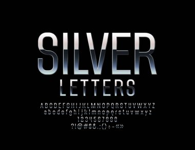 Vector Set of Elegant Silver Alphabet Letters, Numbers and Punctuation Symbols. Vector Metallic Font.