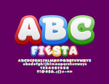 Vector Bright Colorful Font. Children Funny Alphabet Letters Set
